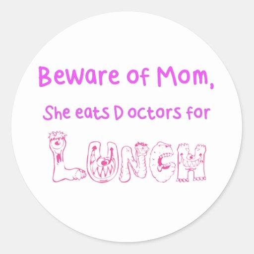 Beware of Mom Classic Round Sticker