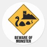 Beware Of Monster Classic Round Sticker