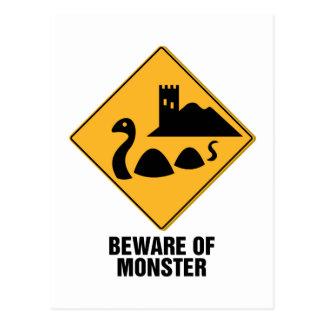 Beware Of Monster Postcard