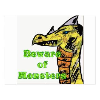 Beware Of monsters Postcard