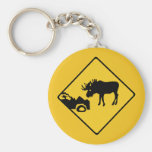 Beware of Moose, Traffic Sign, Canada Basic Round Button Keychain