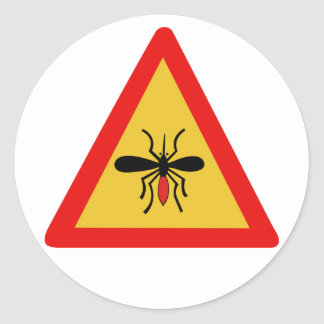 Beware of Mosquitoes, Traffic Sign, Finland Classic Round Sticker