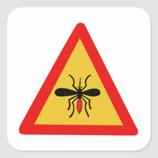 Beware of Mosquitoes, Traffic Sign, Finland Square Sticker