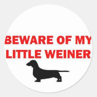 Beware of My Little Weiner Joke Classic Round Sticker
