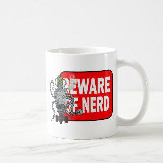 Beware of nerd classic white coffee mug