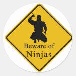 Beware of Ninjas Classic Round Sticker