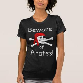 Beware of Pirates  Ladies Black T-shirt