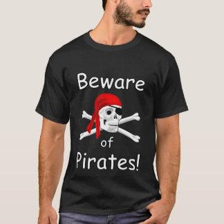 Beware of Pirates Mens Black T-shirt
