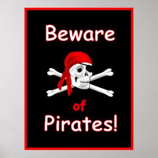Beware of Pirates Print Poster