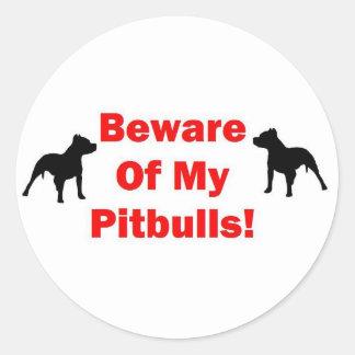 Beware of Pitbull Classic Round Sticker