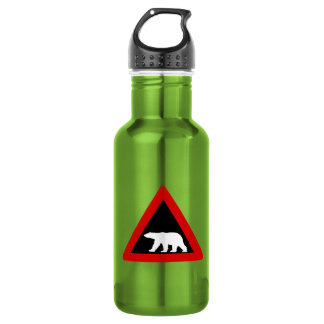 Beware of Polar Bears, Traffic Sign, Norway 18oz Water Bottle
