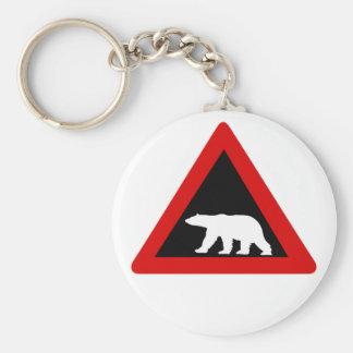 Beware of Polar Bears, Traffic Sign, Norway Basic Round Button Keychain