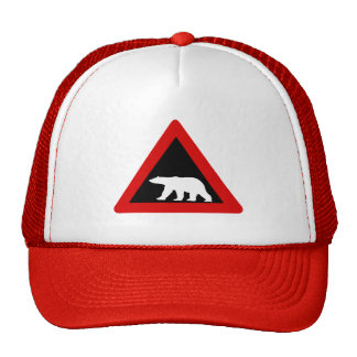 Beware of Polar Bears, Traffic Sign, Norway Mesh Hat