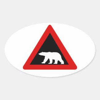 Beware of Polar Bears, Traffic Sign, Norway Oval Sticker