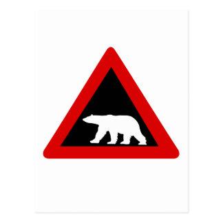 Beware of Polar Bears, Traffic Sign, Norway Postcard