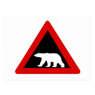 Beware of Polar Bears, Traffic Sign, Norway Postcard