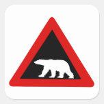 Beware of Polar Bears, Traffic Sign, Norway Square Sticker