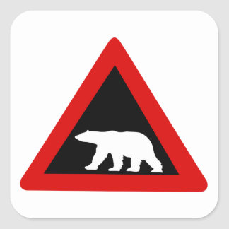 Beware of Polar Bears, Traffic Sign, Norway Square Sticker