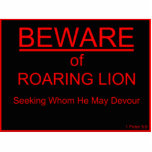 Beware of Roaring Lion Christian Sign Acrylic Cut Out