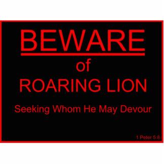 Beware of Roaring Lion Christian Sign Statuette