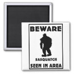 Beware of Sasquatch Poster 2 Inch Square Magnet