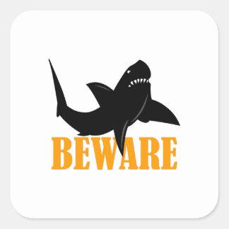 BEWARE OF SHARKS SQUARE STICKER