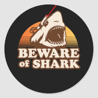 Beware of Sharks with Frickin' Laser Beams Classic Round Sticker
