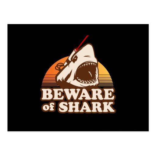 Beware of Sharks with Frickin' Laser Beams Postcard