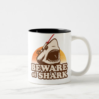 Beware of Sharks with Frickin' Laser Beams Two-Tone Coffee Mug