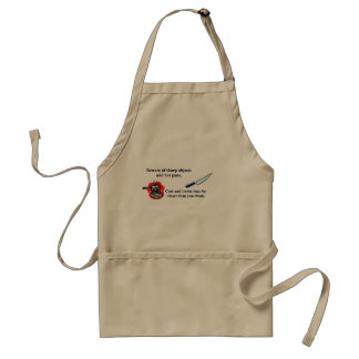 Beware of sharp objects and hot pans. adult apron