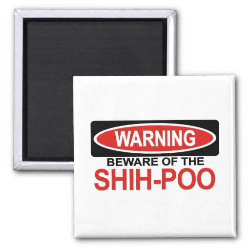 Beware Of Shih-Poo 2 Inch Square Magnet