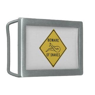 Beware of Snakes, Traffic Warning Sign, Australia Belt Buckle