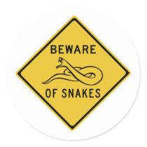 Beware of Snakes, Traffic Warning Sign, Australia Classic Round Sticker