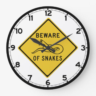 Beware of Snakes, Traffic Warning Sign, Australia Large Clock