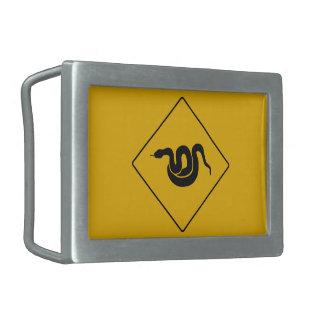 Beware of Snakes, Warning Sign, USA Belt Buckle