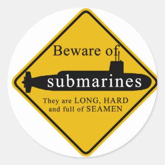 Beware of Submarines Classic Round Sticker