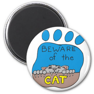 Beware of the Cat 2 Inch Round Magnet