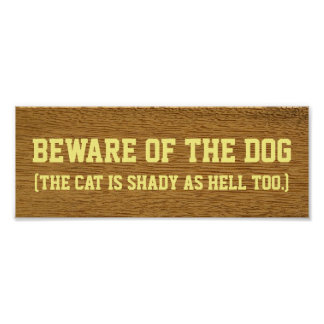 Beware of the dog (the cat is shady as hell too) poster