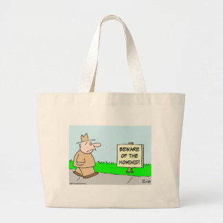 beware of the hominid canvas bag