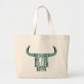 Beware of the killer cows jumbo tote bag