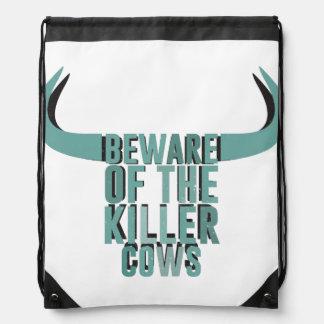 Beware of the killer cows drawstring backpack