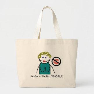 Beware of the kiss MONSTER! Large Tote Bag