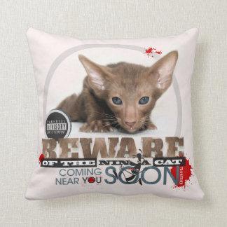 Beware of the Ninja Cat Pillows
