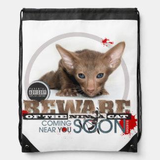 Beware of the Ninja Cat Drawstring Backpack