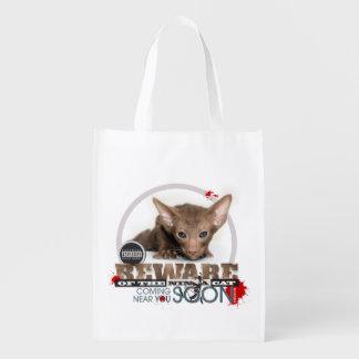 Beware of the Ninja Cat Grocery Bags