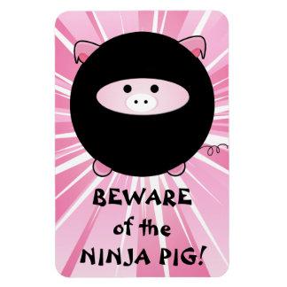 Beware of the Ninja Pig on Pink Rectangular Magnets