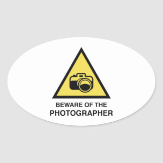Beware Of The Photographer Oval Stickers