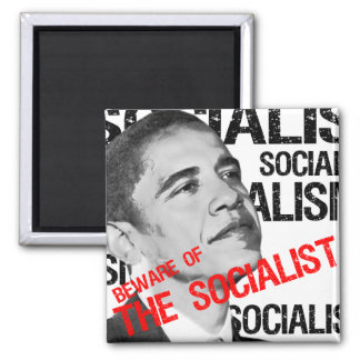 Beware of the Socialist 2 Inch Square Magnet