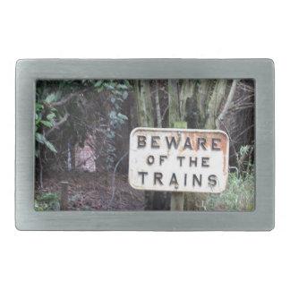 Beware of the Trains! - Range Rectangular Belt Buckle