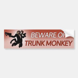 Beware of Trunk Monkey Bumper Sticker